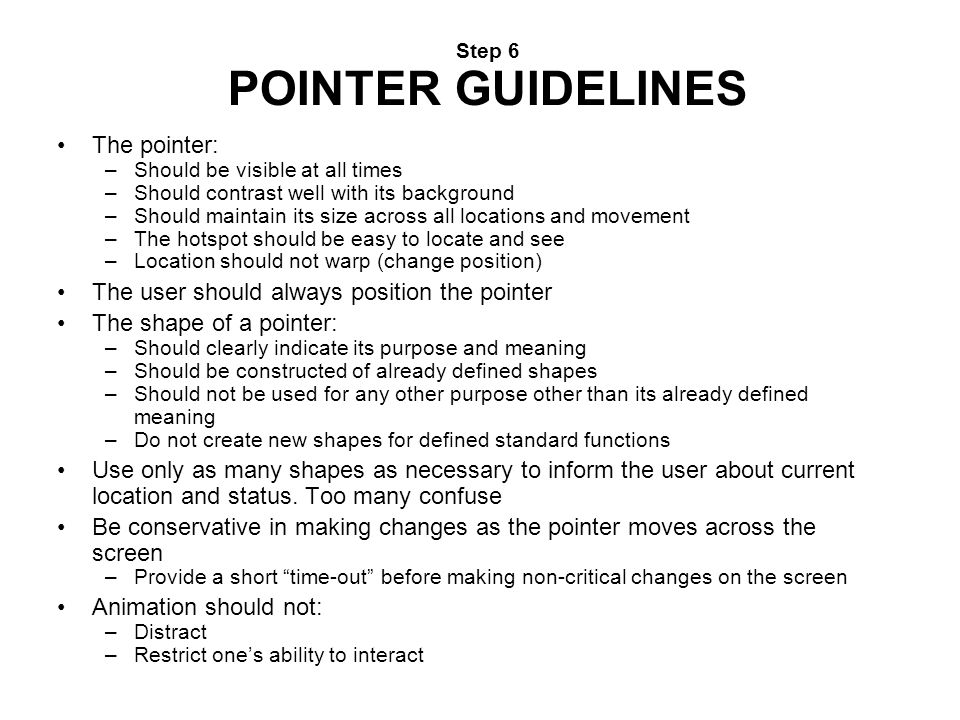 Step 6 POINTER GUIDELINES