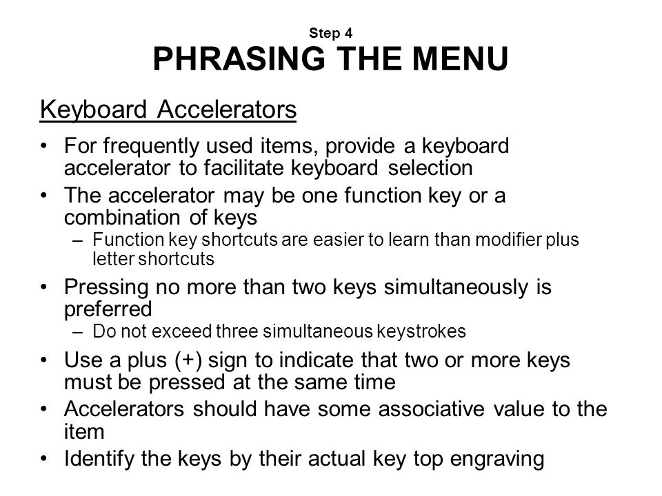 Keyboard Accelerators