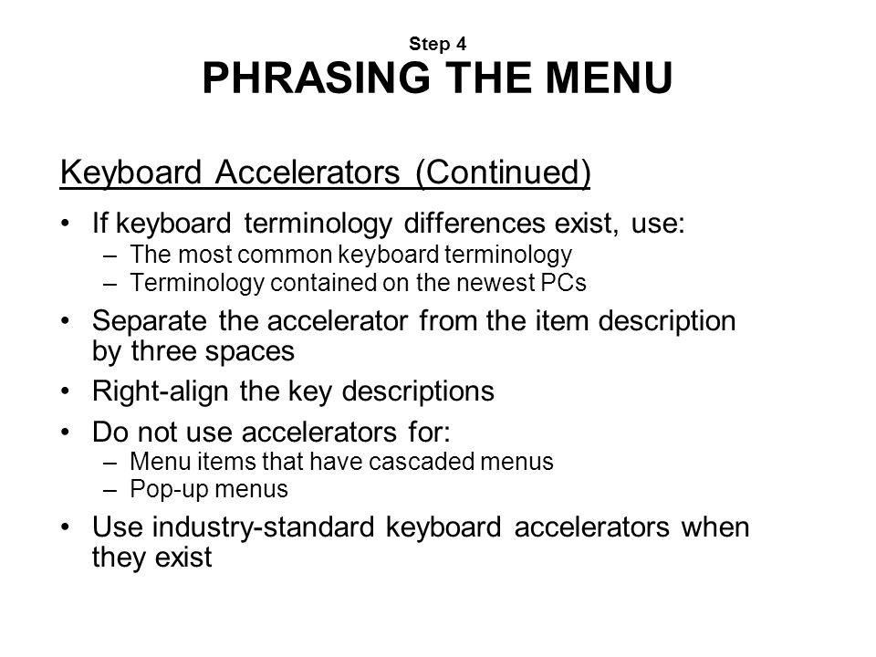 Keyboard Accelerators (Continued)‏