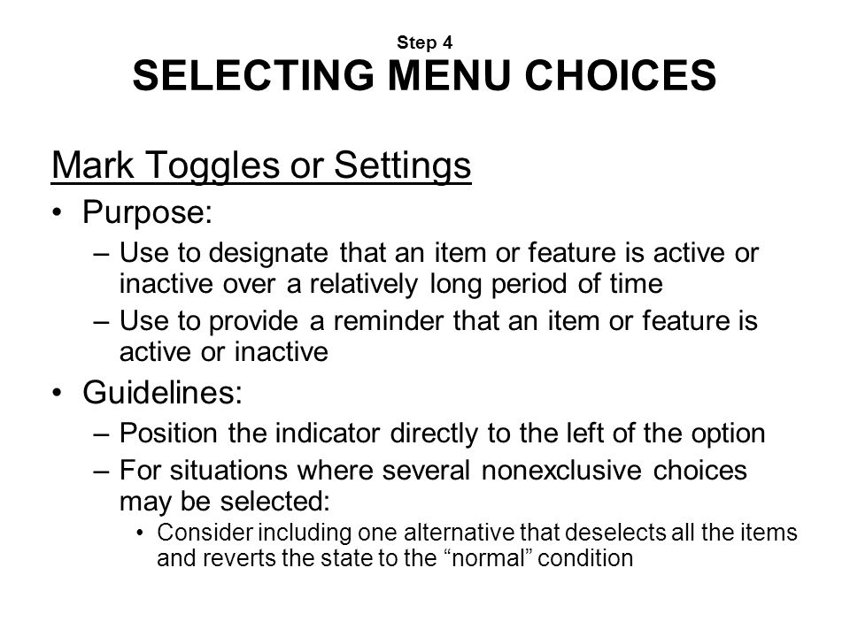 Step 4 SELECTING MENU CHOICES