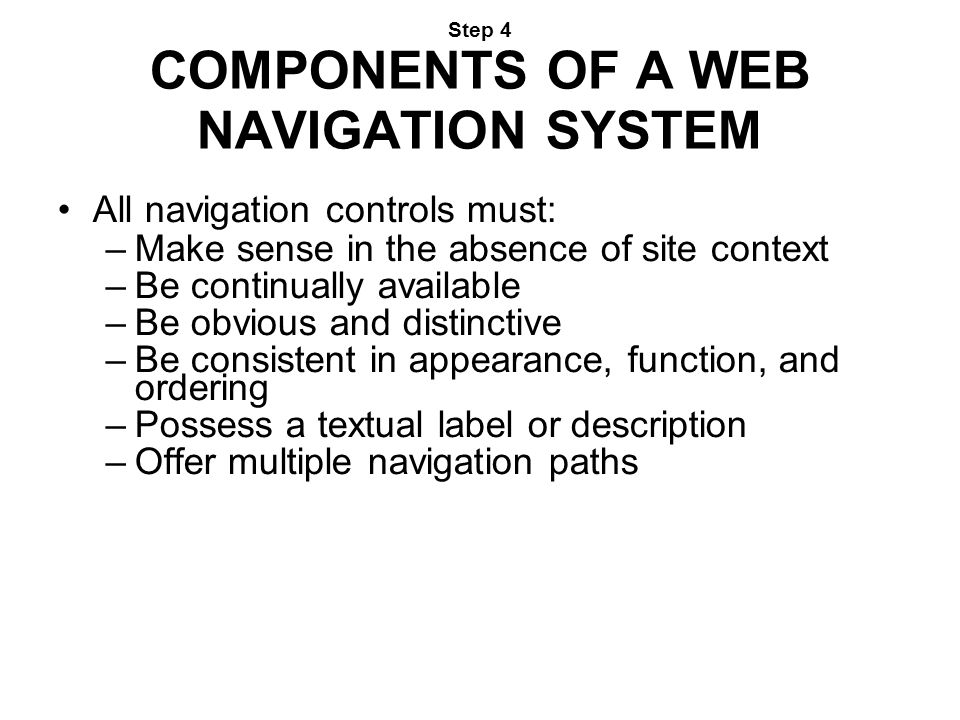 Step 4 COMPONENTS OF A WEB NAVIGATION SYSTEM