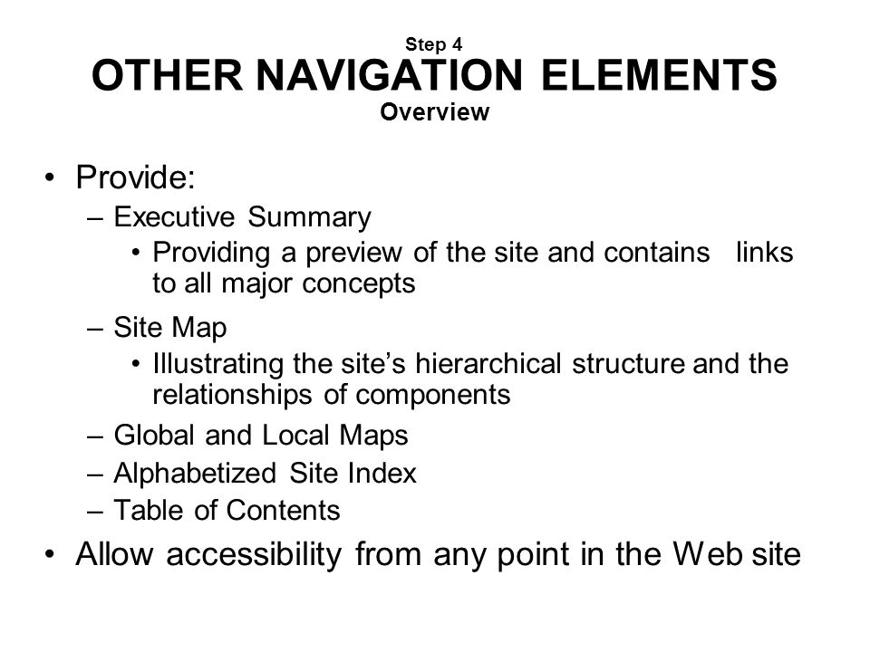 Step 4 OTHER NAVIGATION ELEMENTS Overview