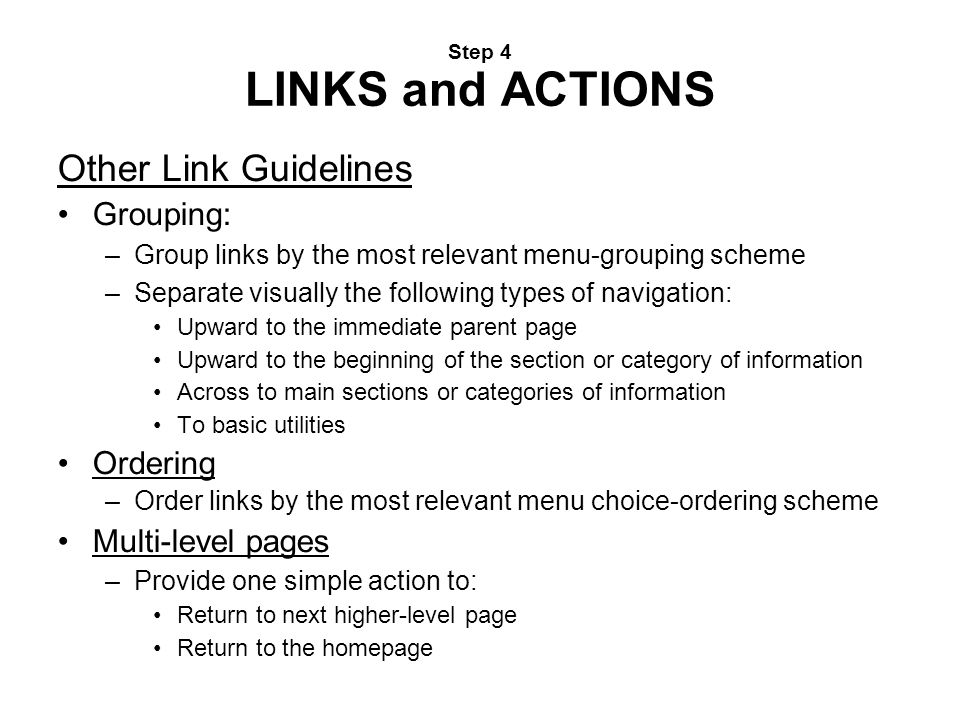 Other Link Guidelines Grouping: Ordering Multi-level pages