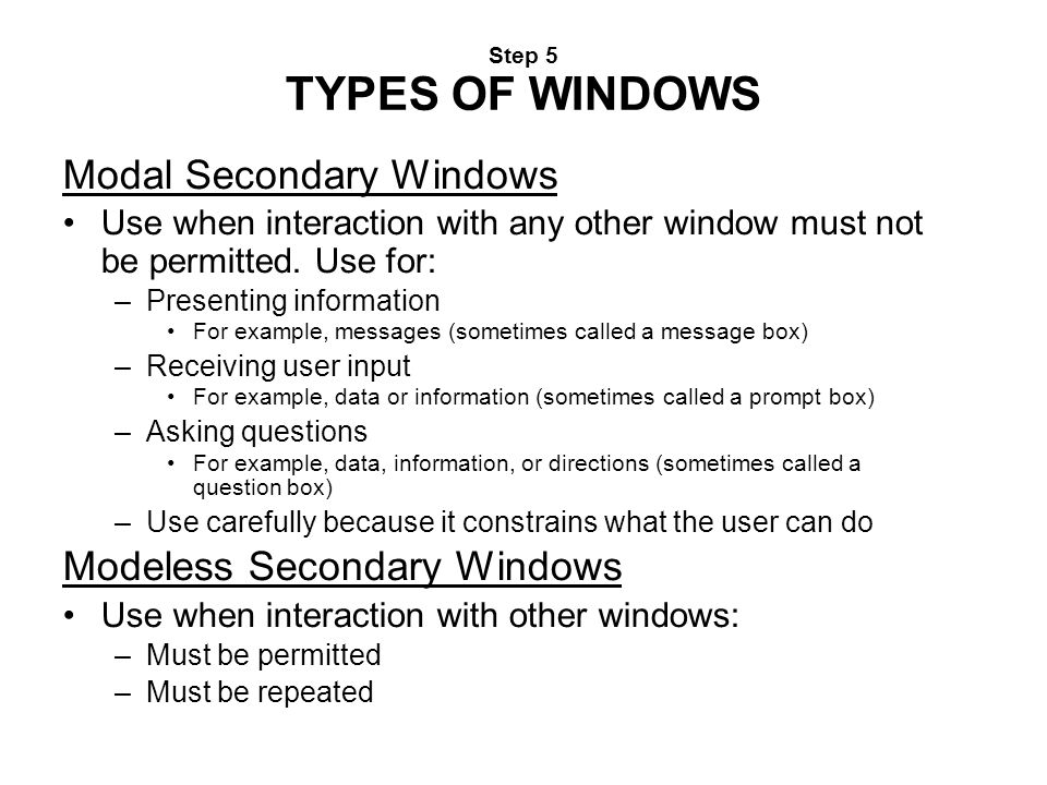 Modal Secondary Windows