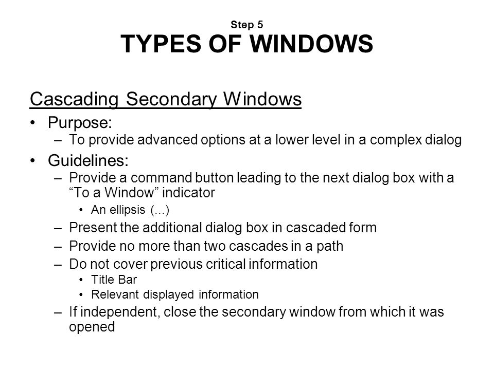 Cascading Secondary Windows