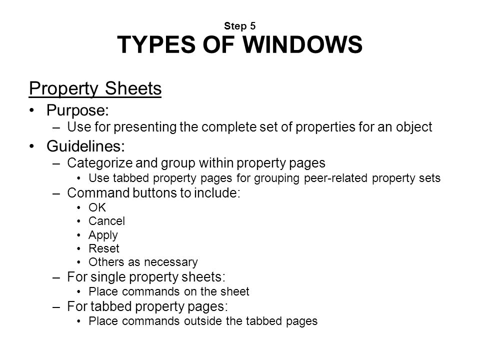 Property Sheets Purpose: Guidelines: