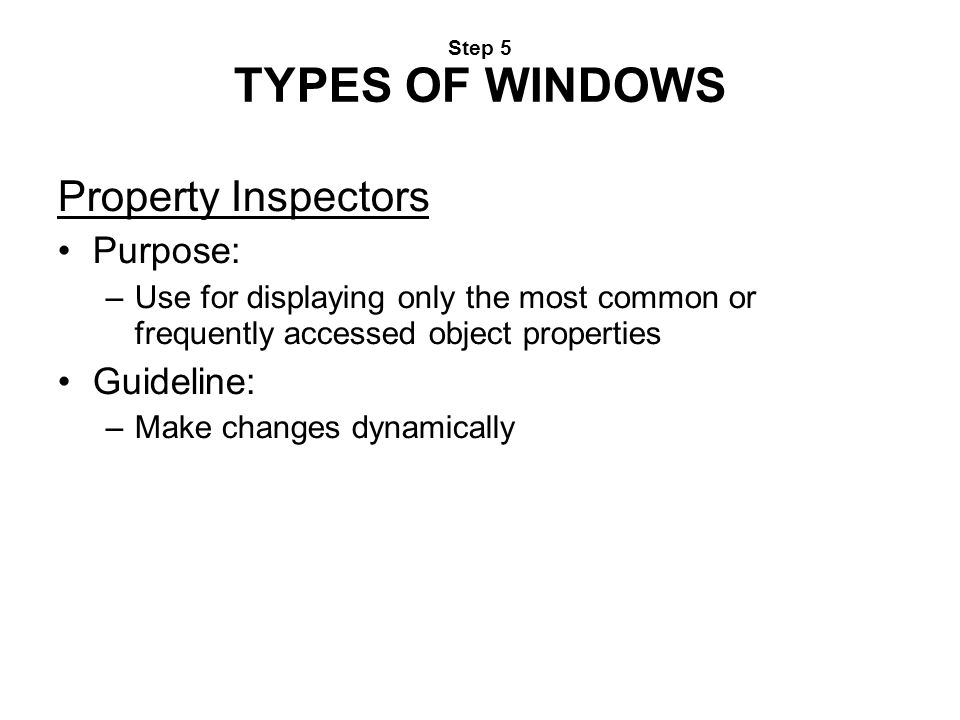 Property Inspectors Purpose: Guideline: