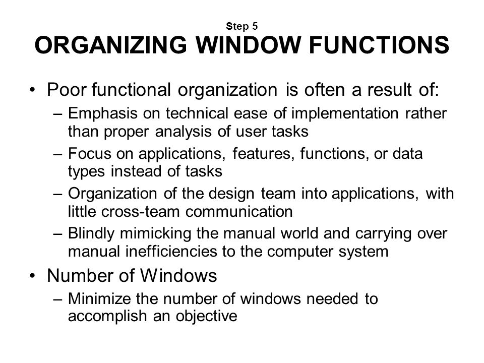Step 5 ORGANIZING WINDOW FUNCTIONS