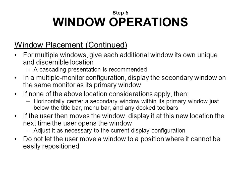 Step 5 WINDOW OPERATIONS
