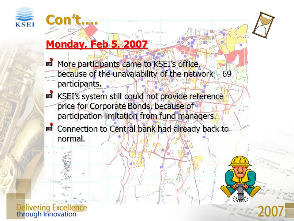 Con't…. Monday, Feb 5, 2007. More participants came to KSEI's office, because of the unavalability of the network – 69 participants.