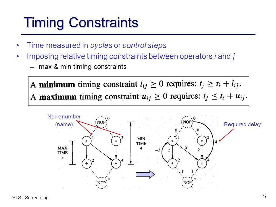 Timing Constraints Time measured in cycles or control steps