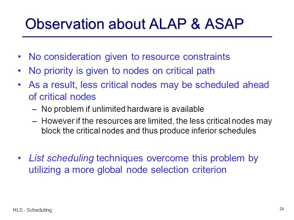 Observation about ALAP & ASAP