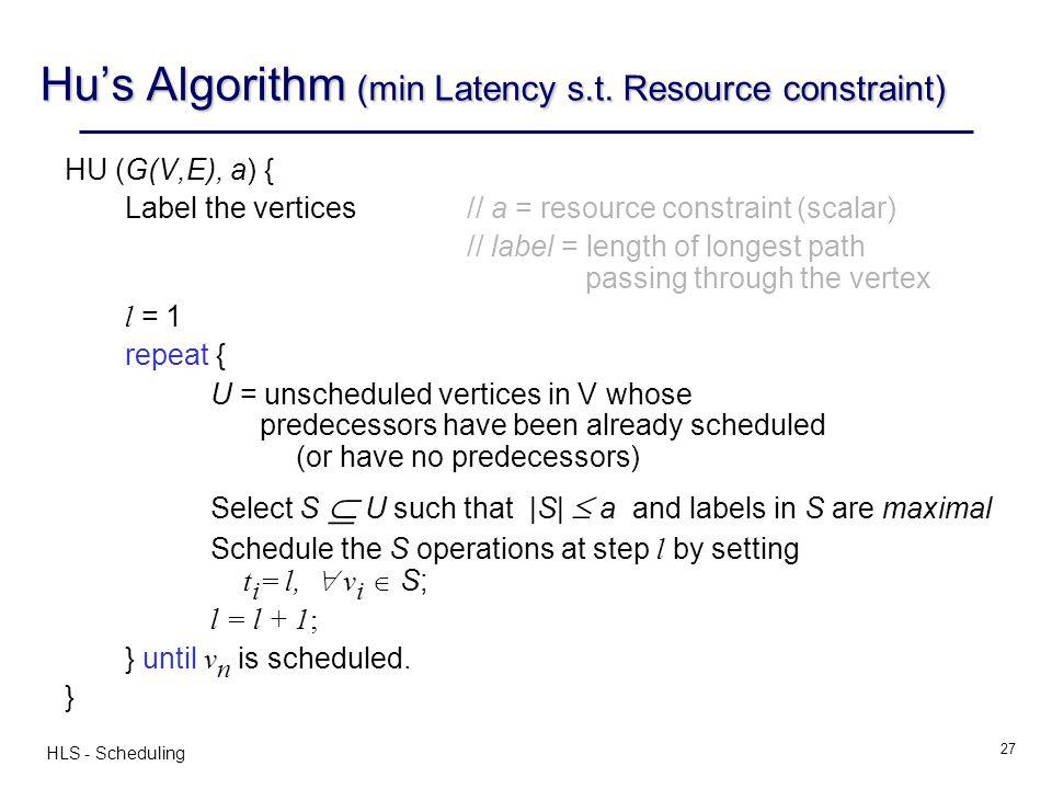 Hu's Algorithm (min Latency s.t. Resource constraint)