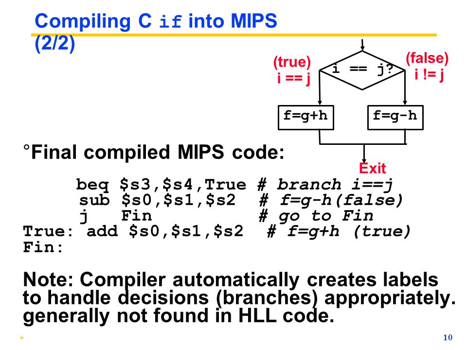 Compiling C if into MIPS (2/2)