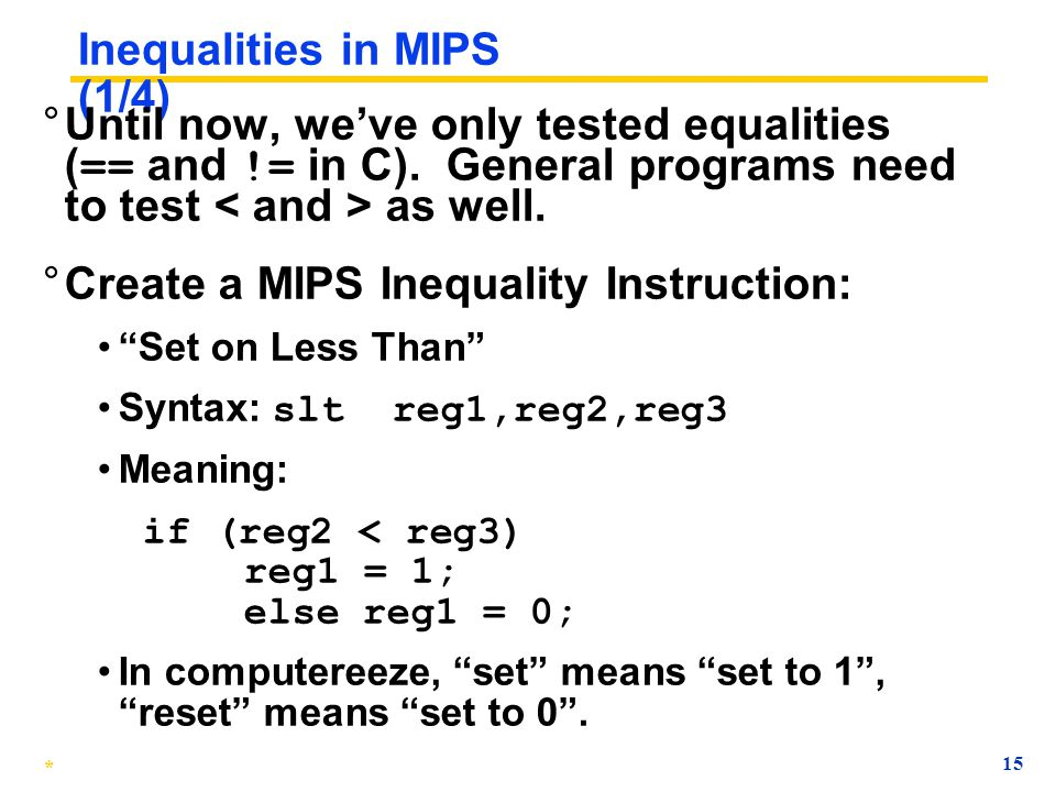 Inequalities in MIPS (1/4)