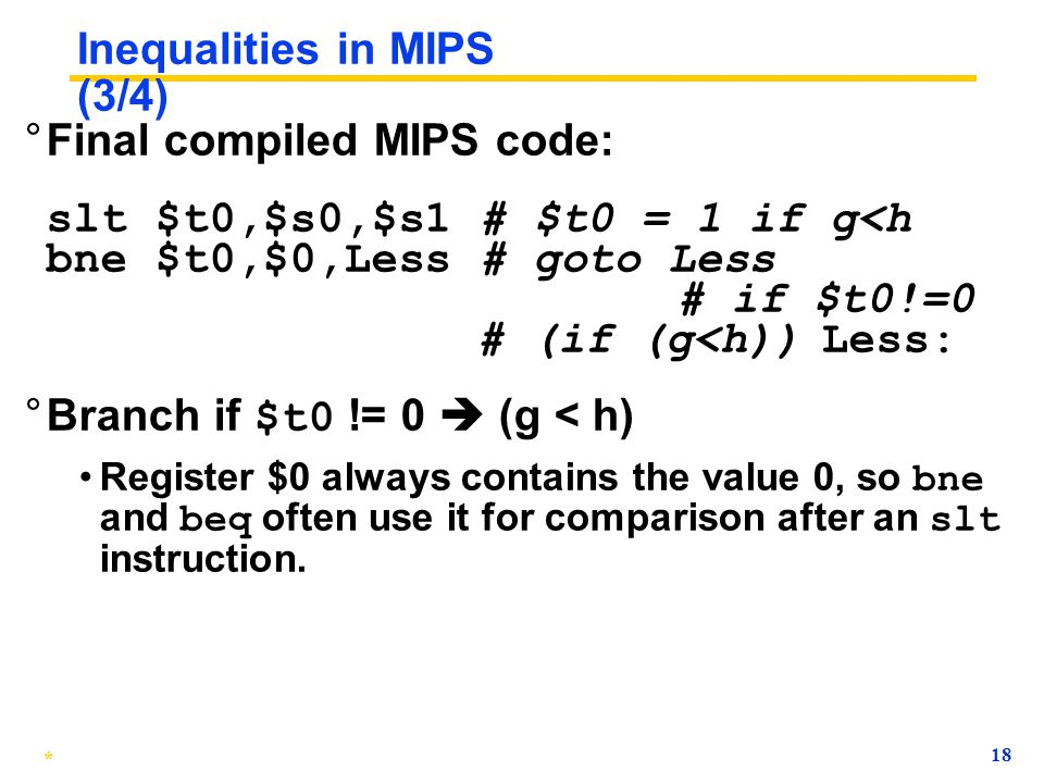 Inequalities in MIPS (3/4)