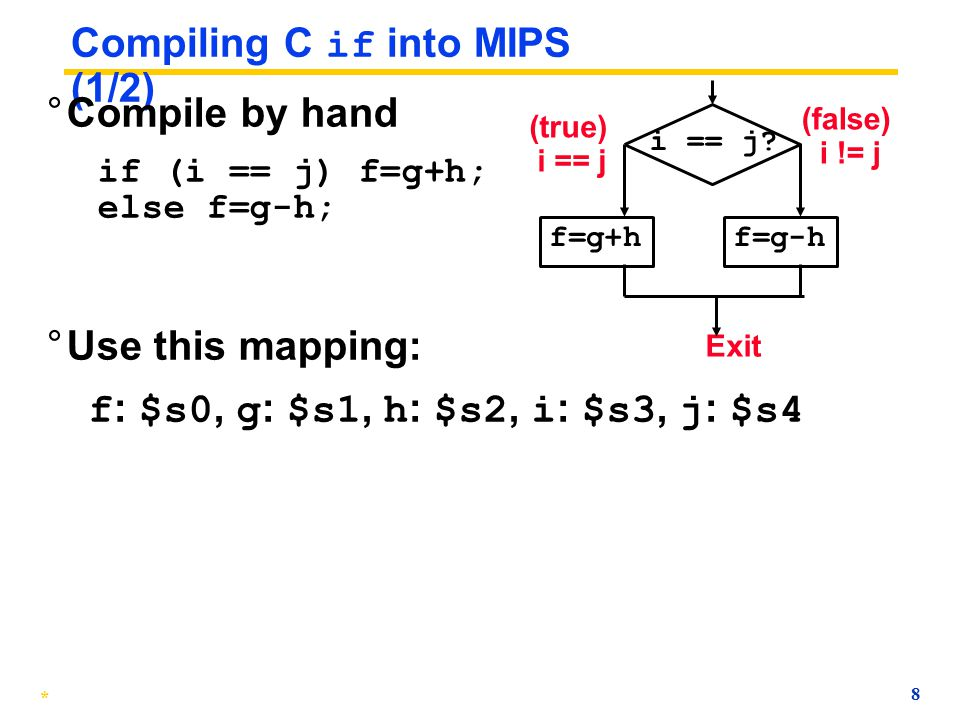 Compiling C if into MIPS (1/2)