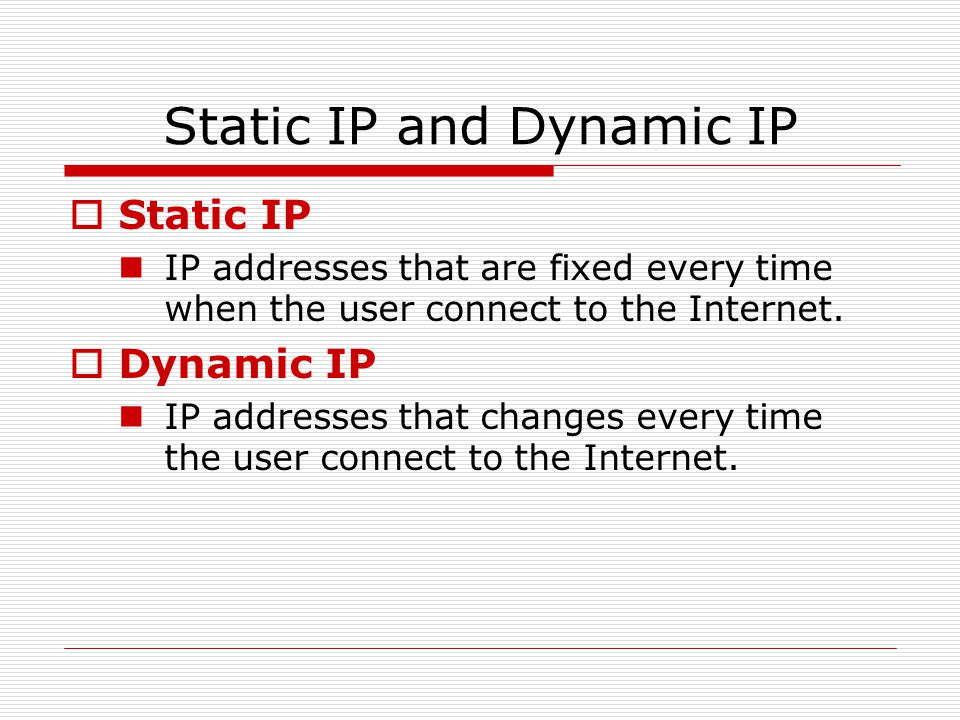 Static IP and Dynamic IP