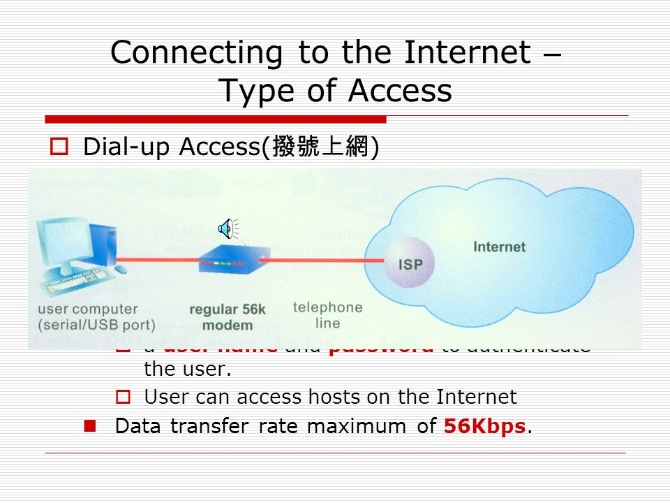 Connecting to the Internet – Type of Access