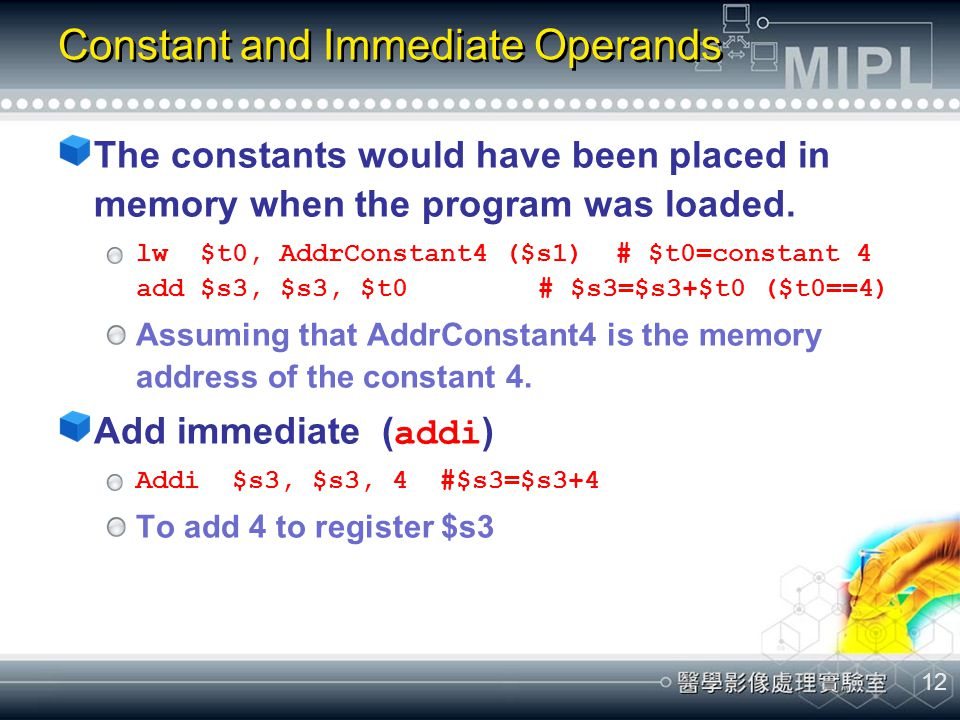 Constant and Immediate Operands