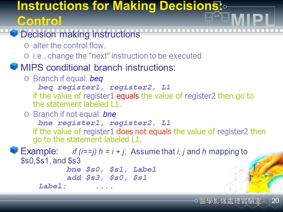 Instructions for Making Decisions: Control