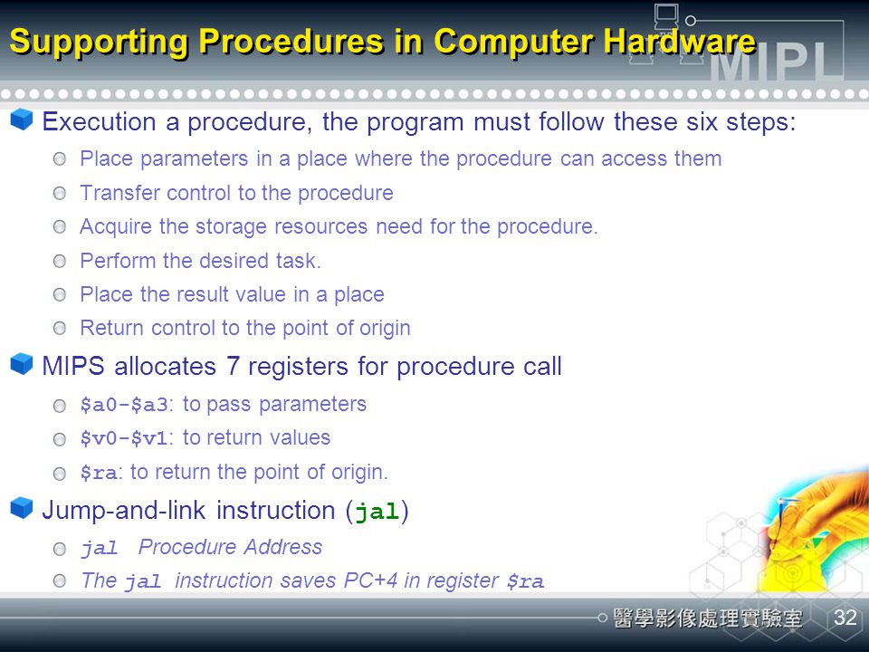 Supporting Procedures in Computer Hardware
