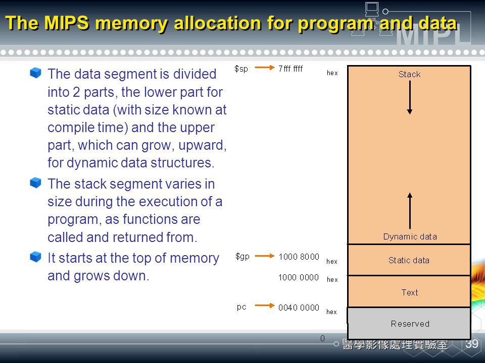 The MIPS memory allocation for program and data