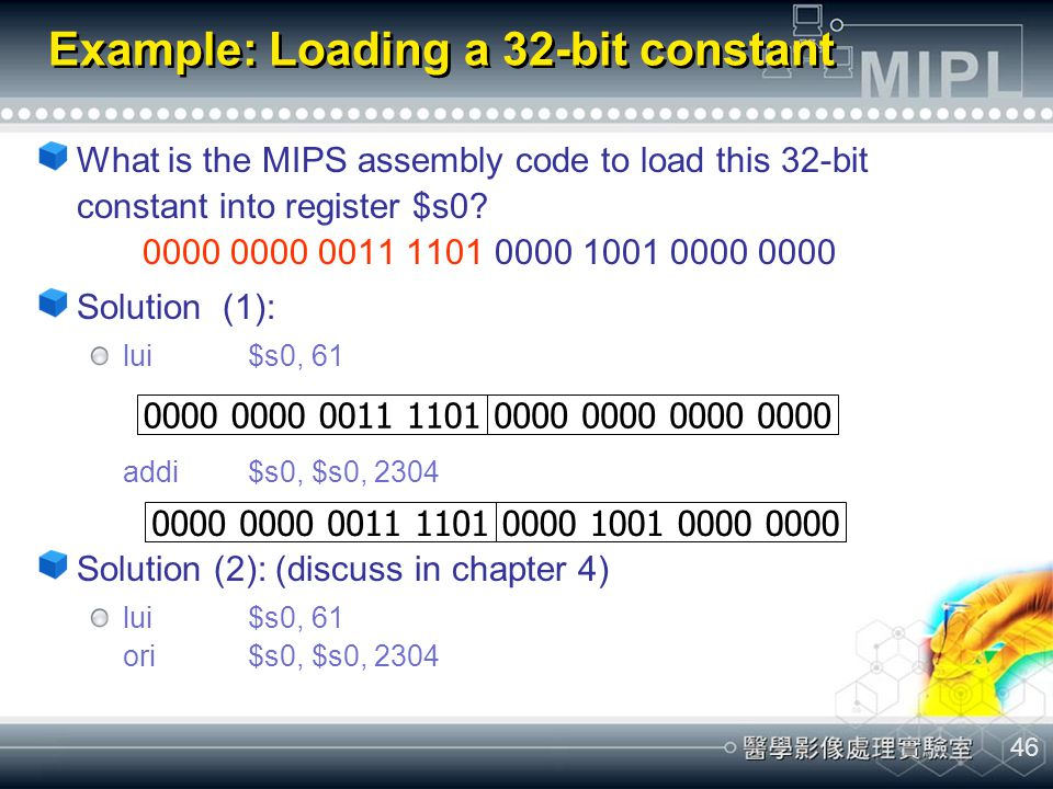 Example: Loading a 32-bit constant