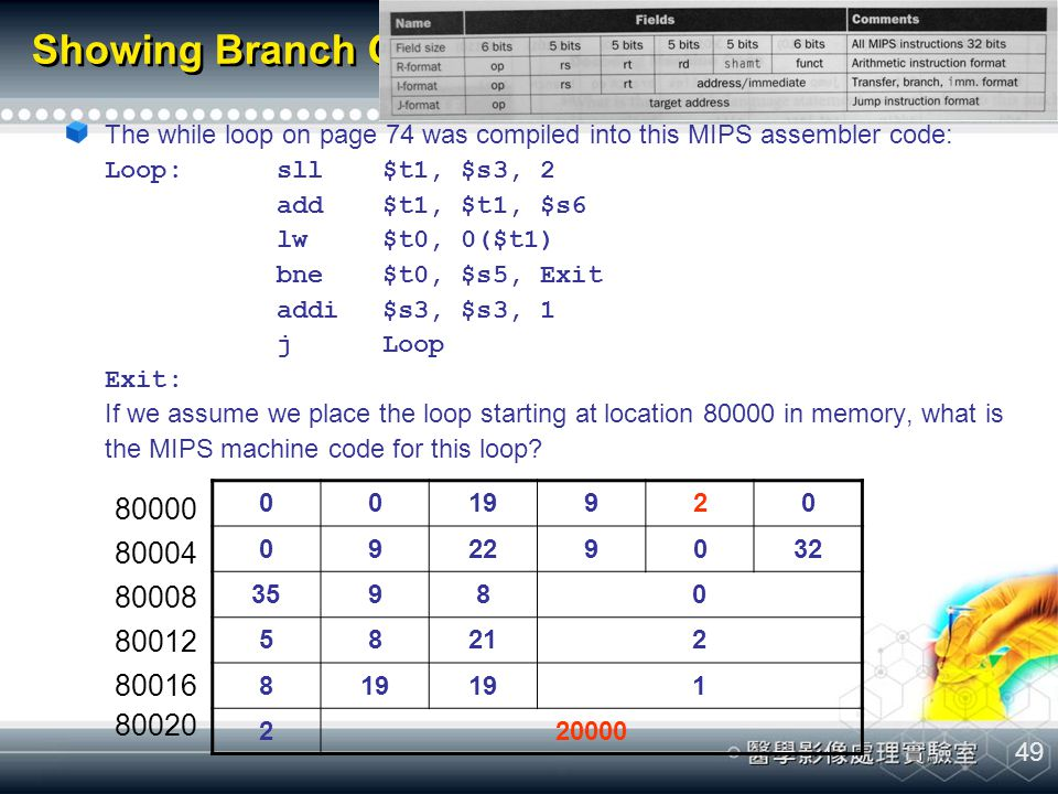 Showing Branch Offset in Machine Language (cont.)
