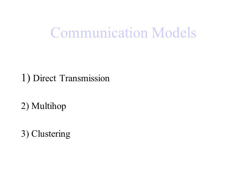 Communication Models 1) Direct Transmission 2) Multihop 3) Clustering