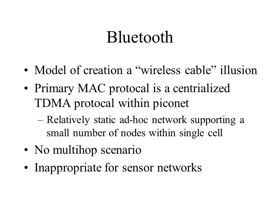 Bluetooth Model of creation a wireless cable illusion