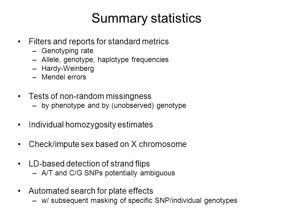 Summary statistics Filters and reports for standard metrics
