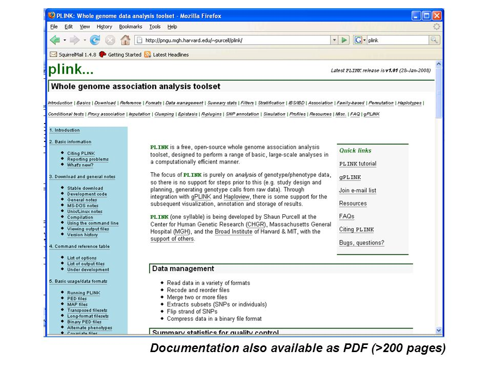 Documentation also available as PDF (>200 pages)