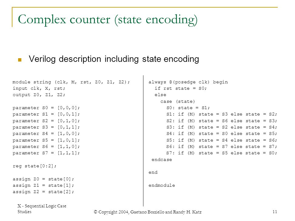 Complex counter (state encoding)