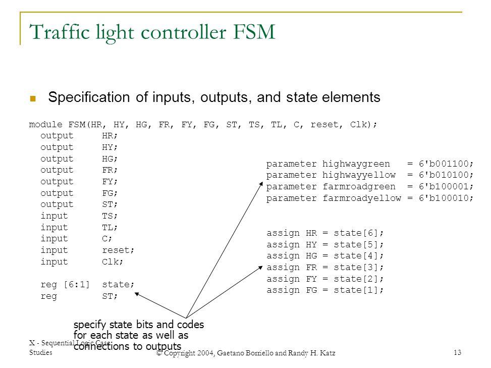 Traffic light controller FSM