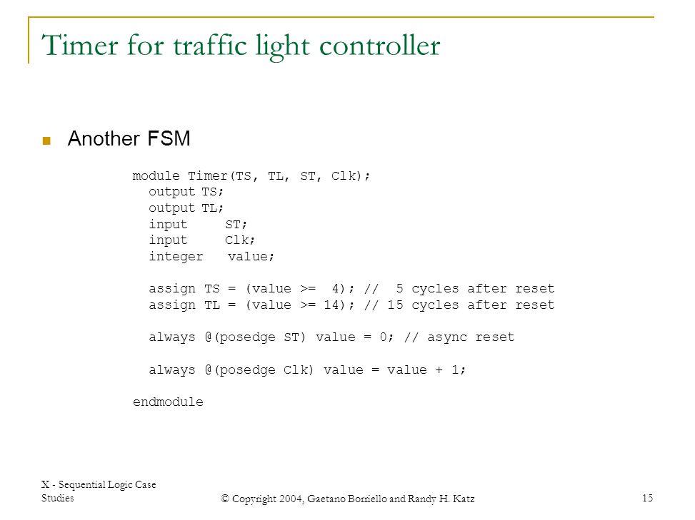 Timer for traffic light controller
