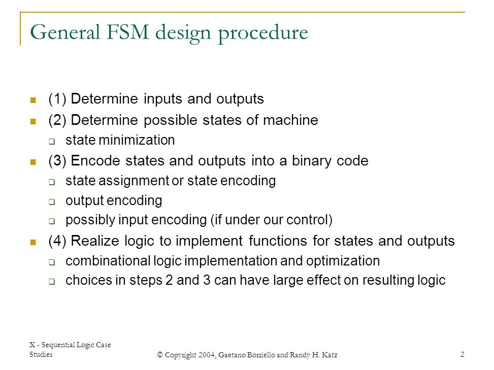 General FSM design procedure
