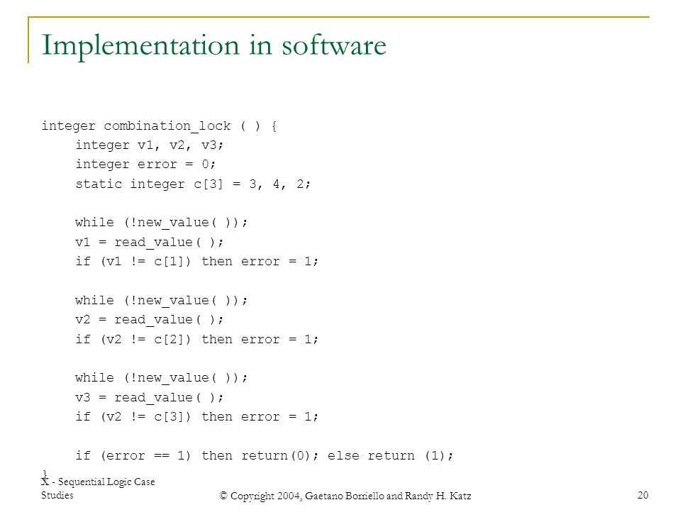 Implementation in software