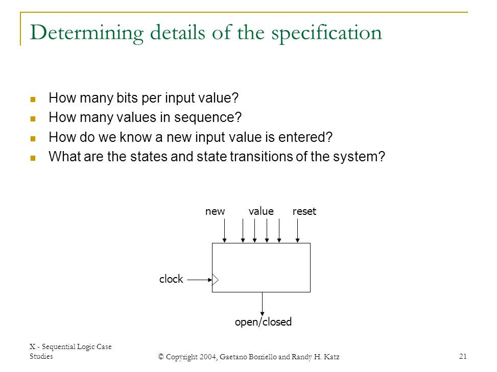 Determining details of the specification