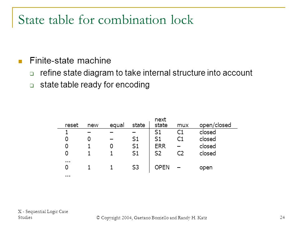State table for combination lock