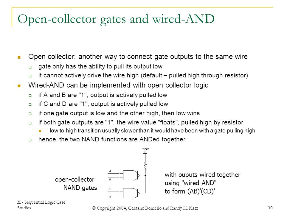 Open-collector gates and wired-AND