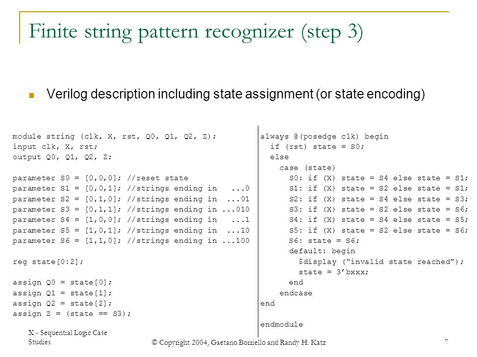 Finite string pattern recognizer (step 3)