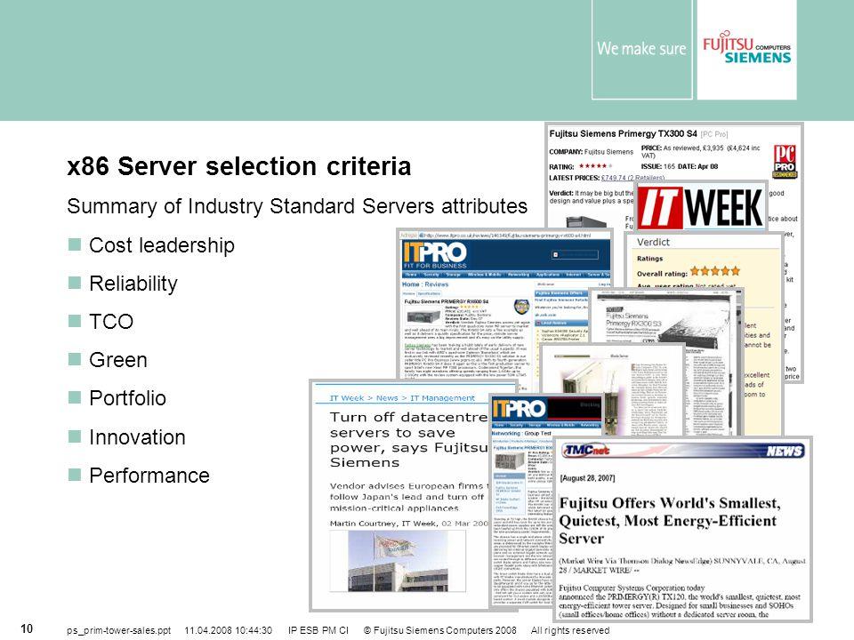 x86 Server selection criteria