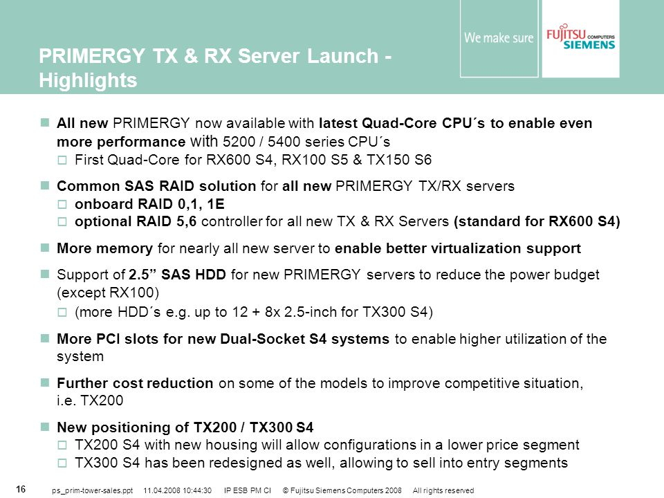 PRIMERGY TX & RX Server Launch - Highlights