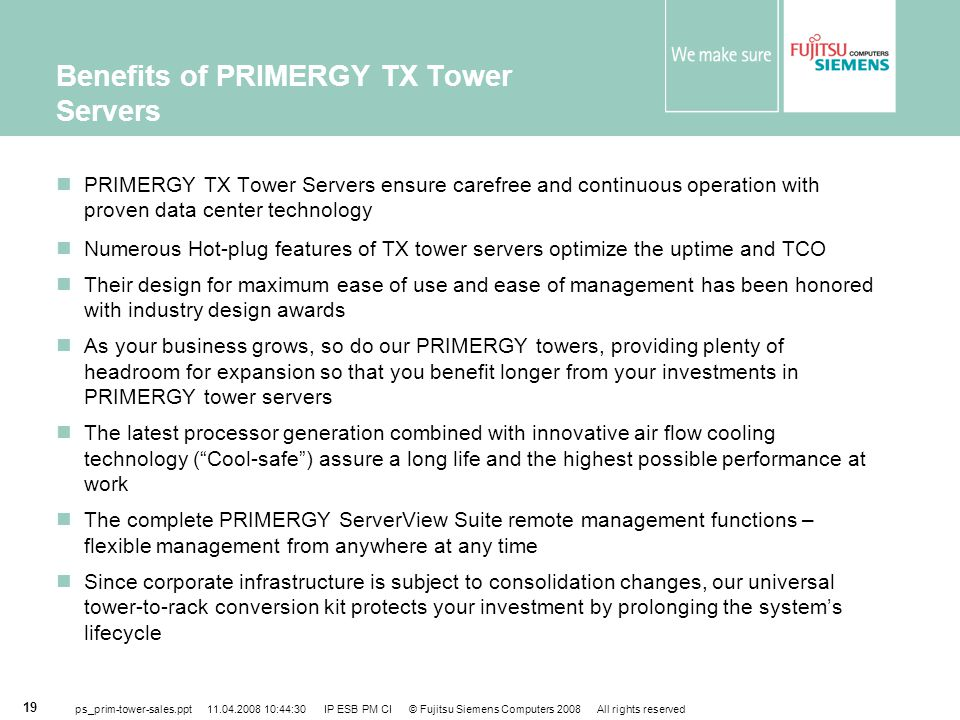 Benefits of PRIMERGY TX Tower Servers