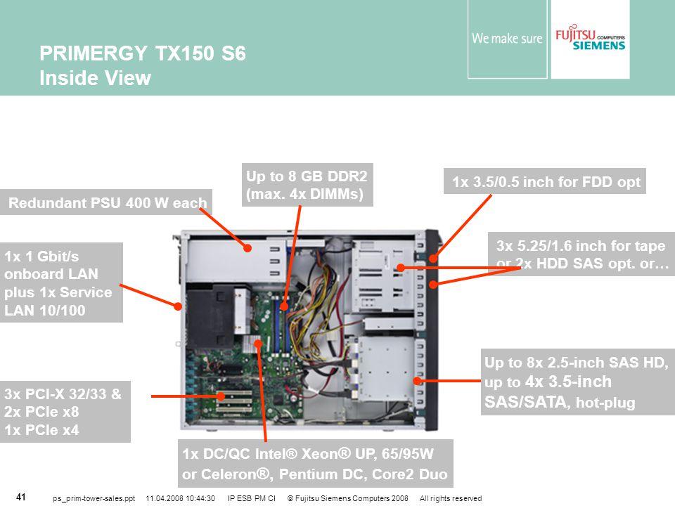 PRIMERGY TX150 S6 Inside View