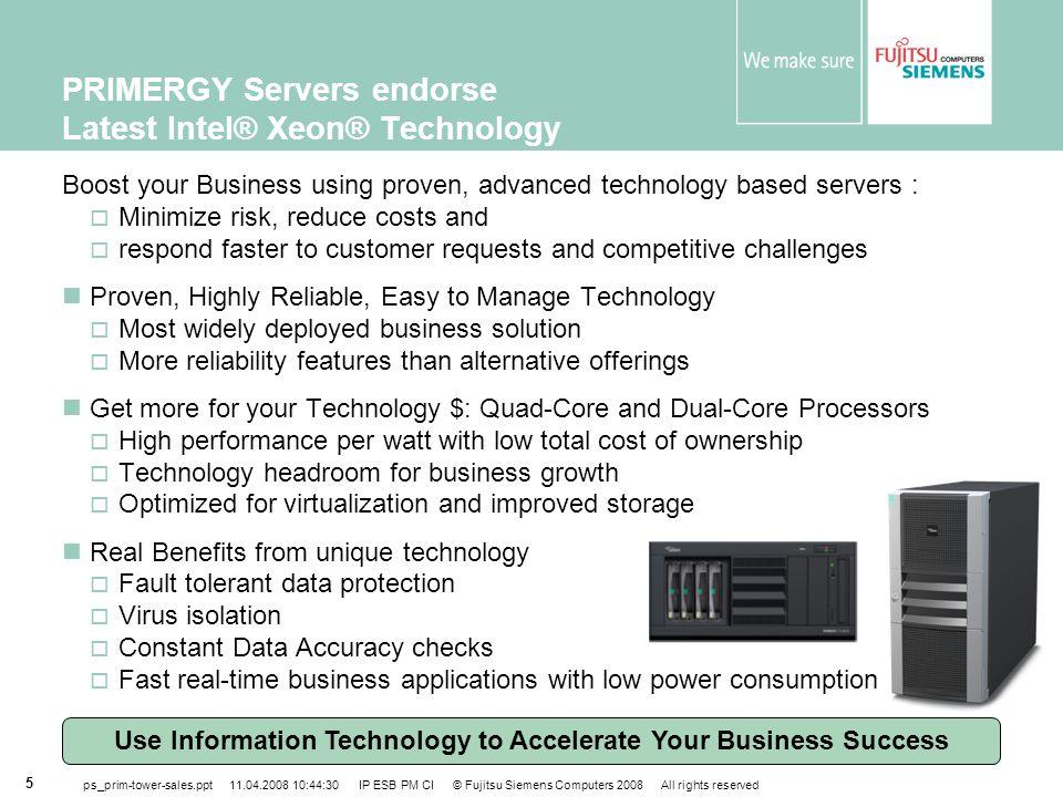 PRIMERGY Servers endorse Latest Intel® Xeon® Technology