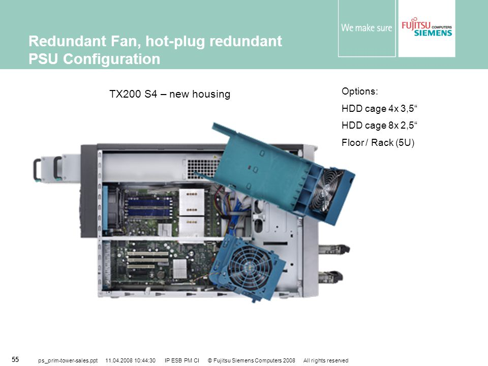 Redundant Fan, hot-plug redundant PSU Configuration