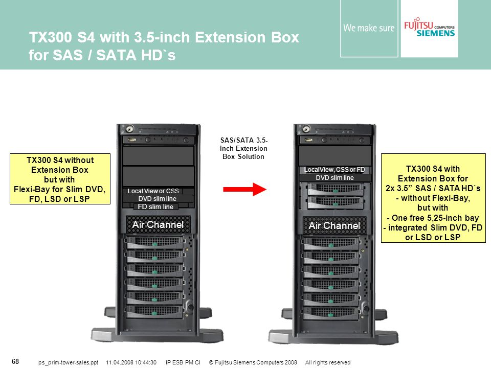 TX300 S4 with 3.5-inch Extension Box for SAS / SATA HD`s