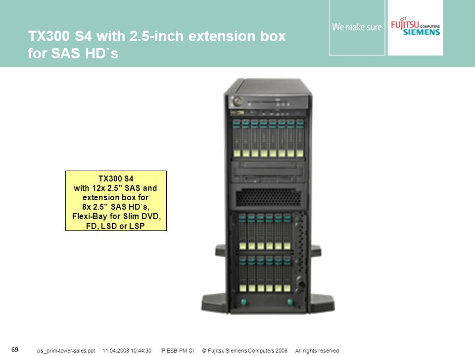 TX300 S4 with 2.5-inch extension box for SAS HD`s